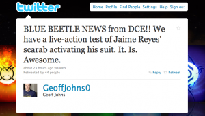 """""""BLUE BEETLE NEWS from DCE!! We have a live-action test of Jaime Reyes' scarab activating his suit. It. Is. Awesome."""""""