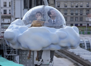 Audrey Tatou and Romain Duris float above impending troubles in MOOD INDIGO.