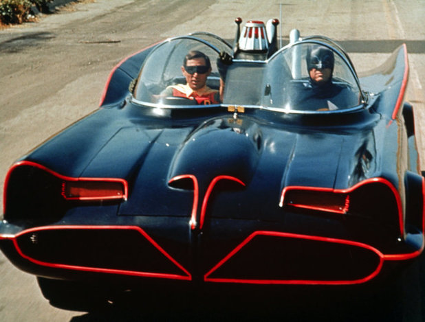 Stuntmen Victor Paul and Hubie Kearns in the Batmobile.