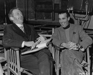 Peter Cushing and Christopher Lee sharing a joke on the set of THE GORGON